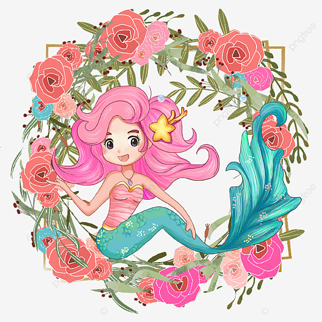 cartoon mermaid with pink rose wreath
