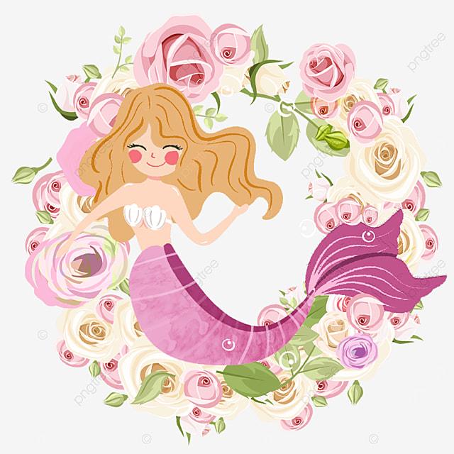 cartoon mermaid with rose wreath