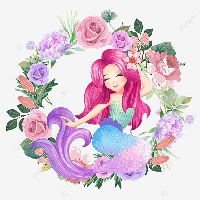 cartoon mermaid wreath with roses