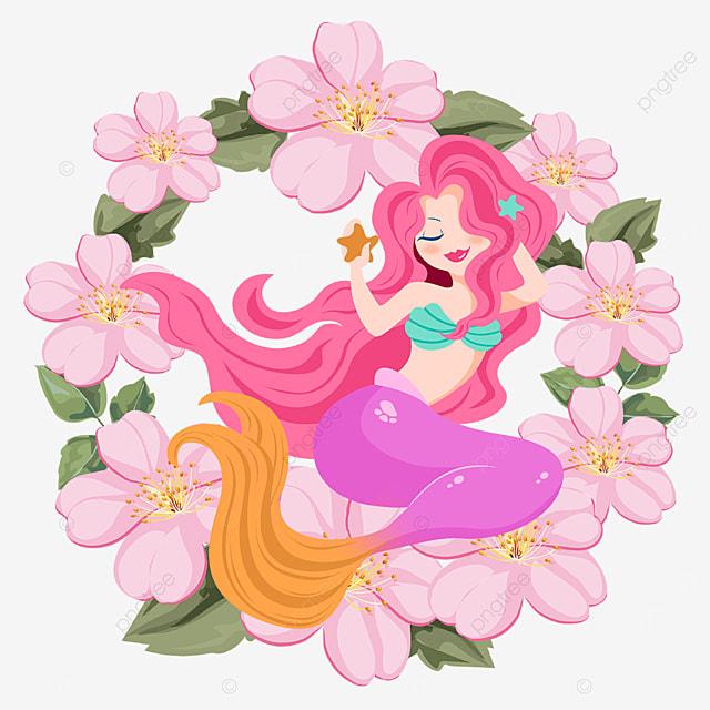 cartoon pink mermaid wreath