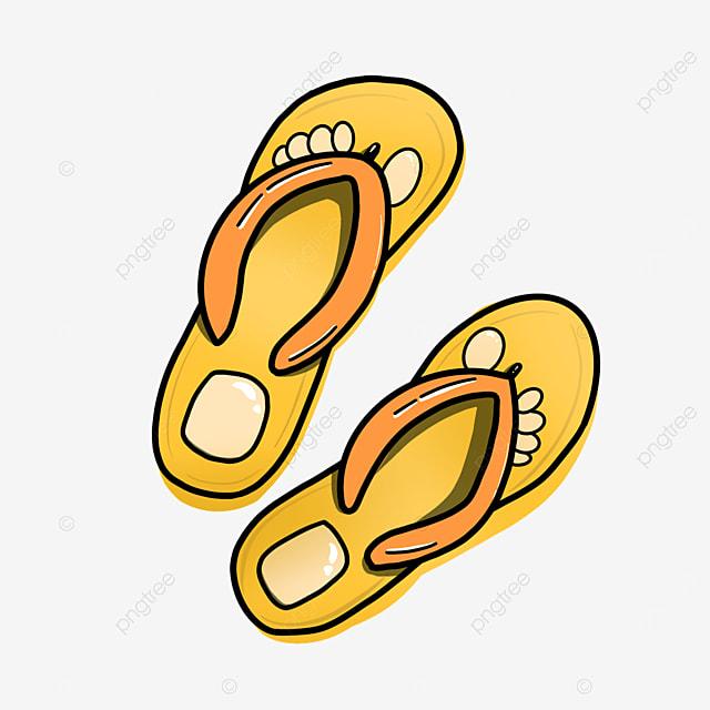 cartoon yellow flip flops clipart