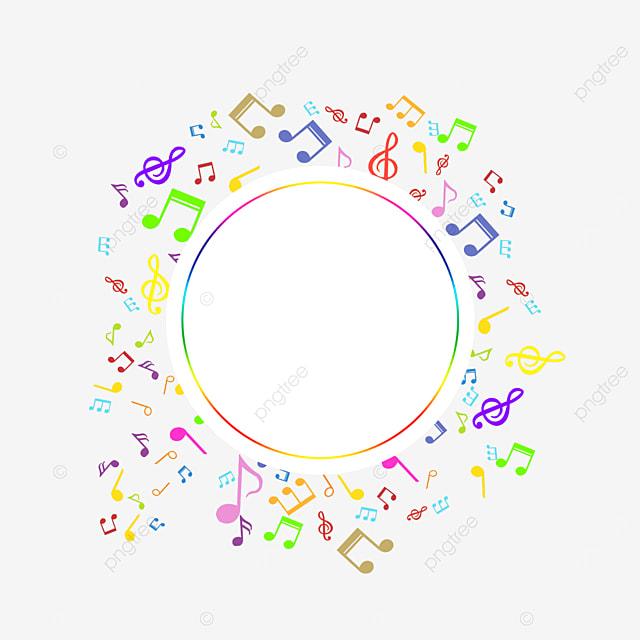 circular geometric creative music note border