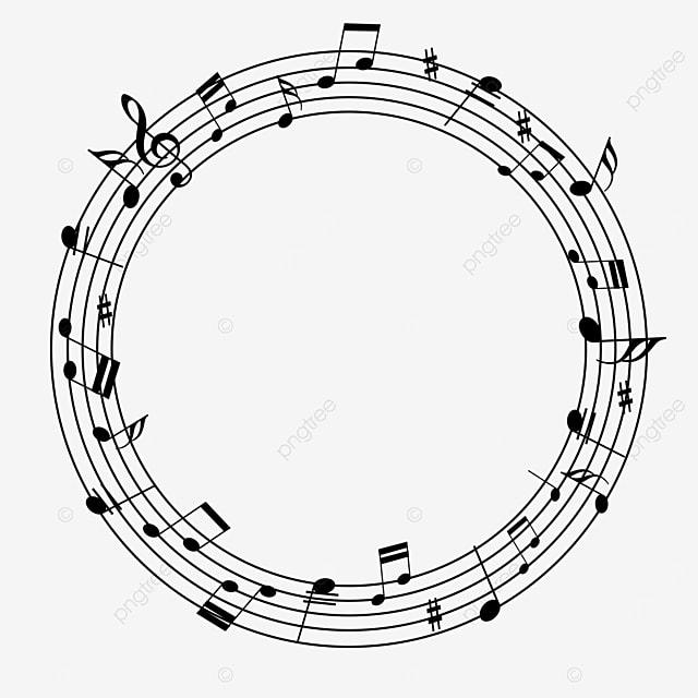 circular line creative music note border