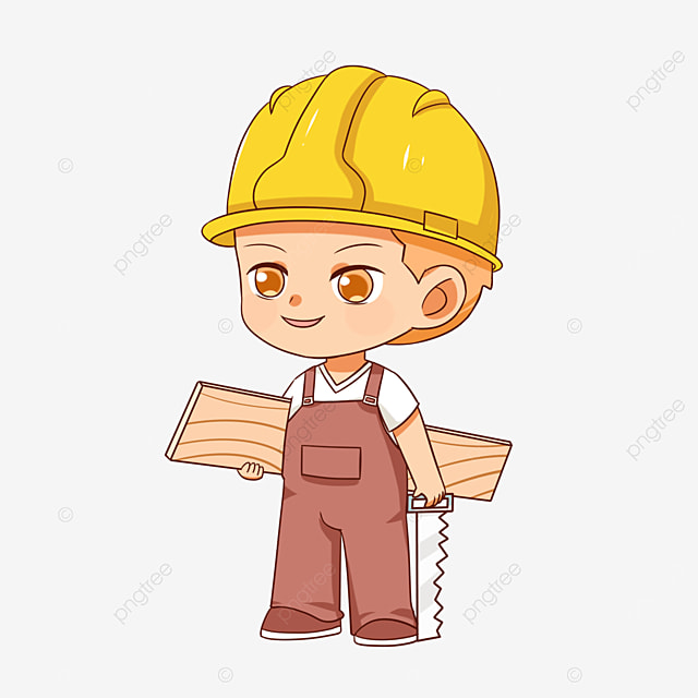 construction worker holding plank clipart