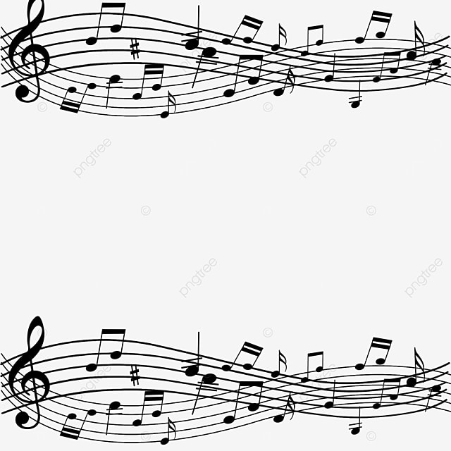 creative black line music note border