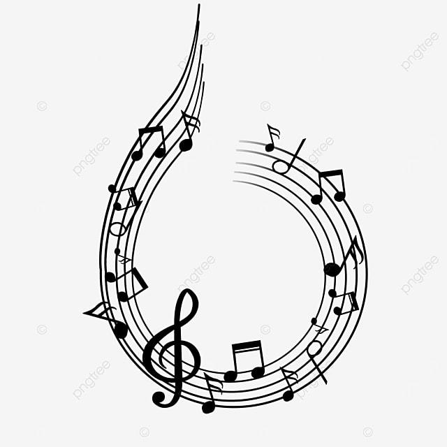 creative music black stave note border