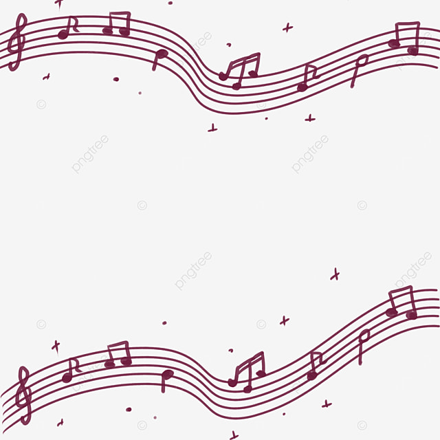 creative music red line musical note border