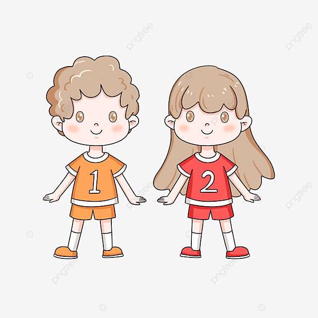 cute curly twins clipart