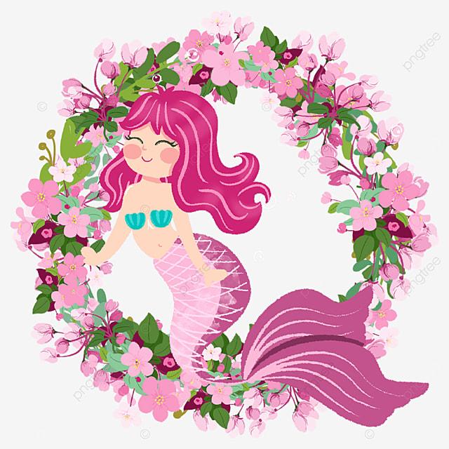 cute pink mermaid wreath