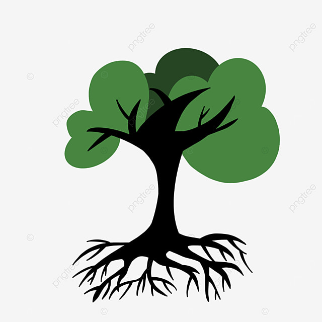 dense green tree roots clipart