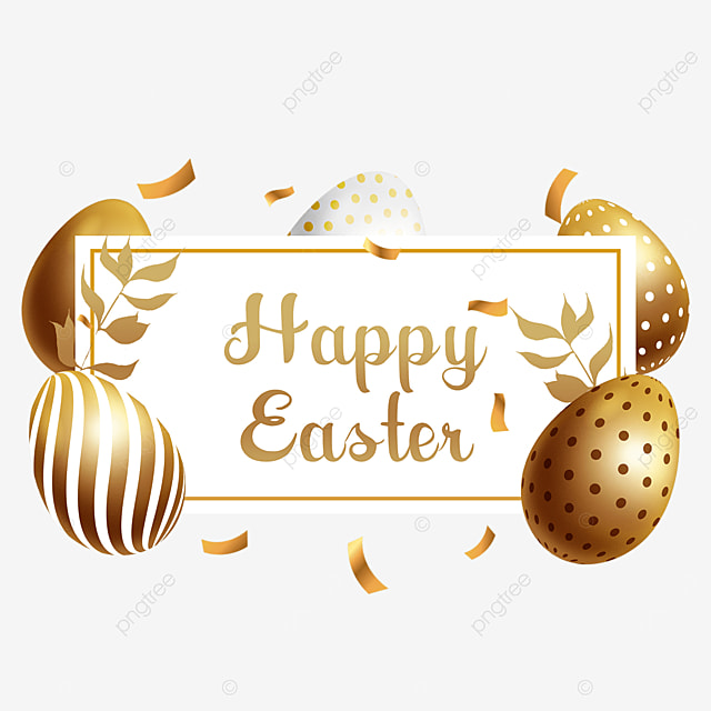 easter golden egg holiday border