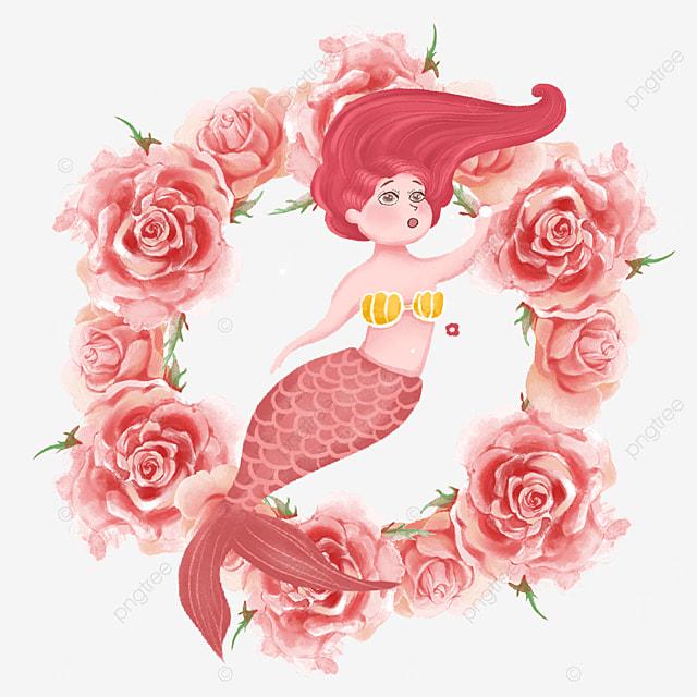 elegant mermaid pink rose wreath