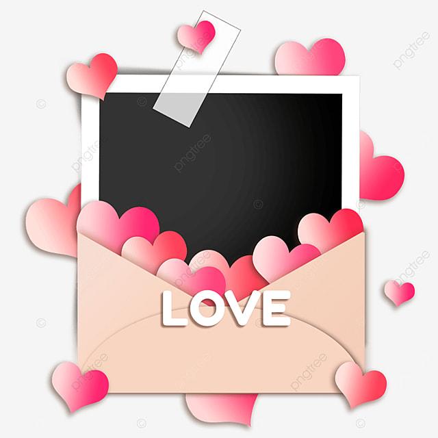 envelope photo paper border pink love heart