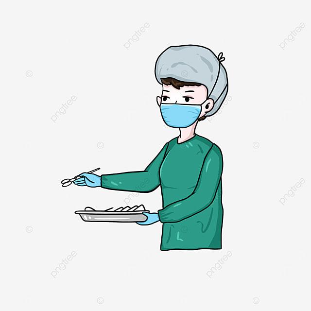 female surgeon working clipart