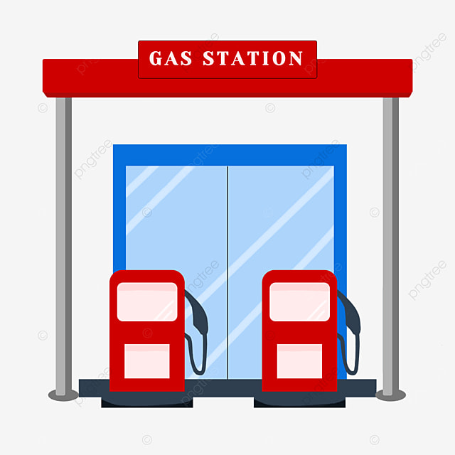 flat style gas station clipart