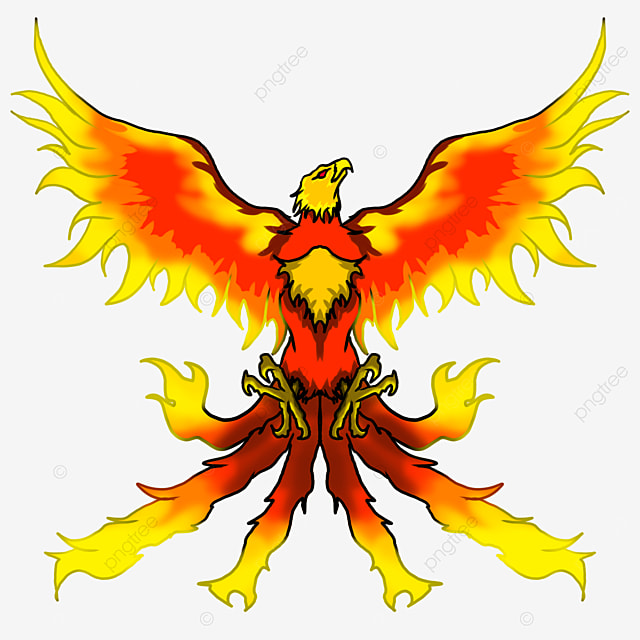 flying flame phoenix with outstretched wings clipart