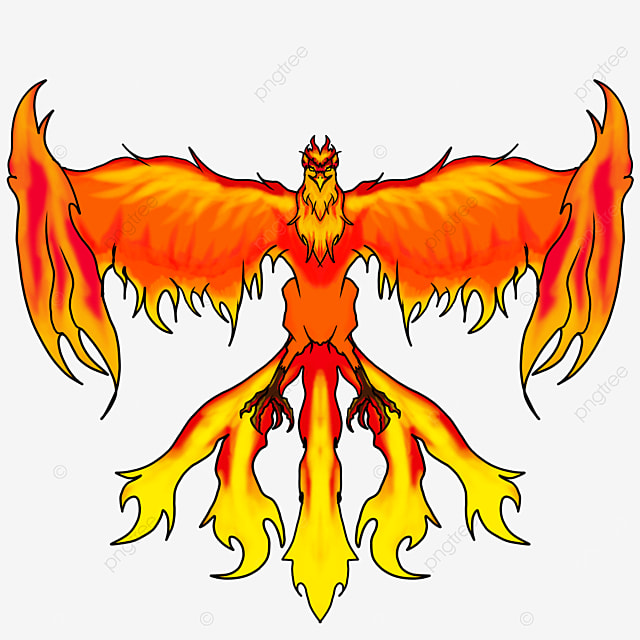 flying flame phoenix with wide wings clipart
