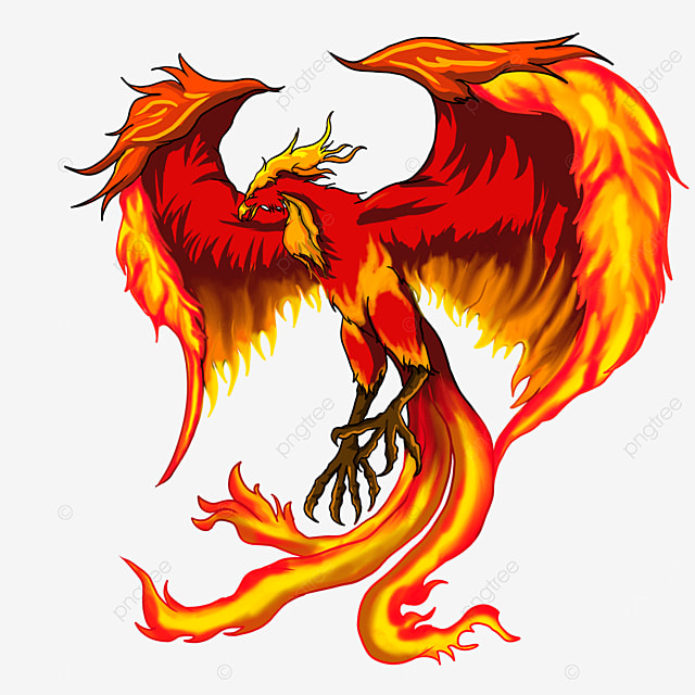flying phoenix with flame wings clipart