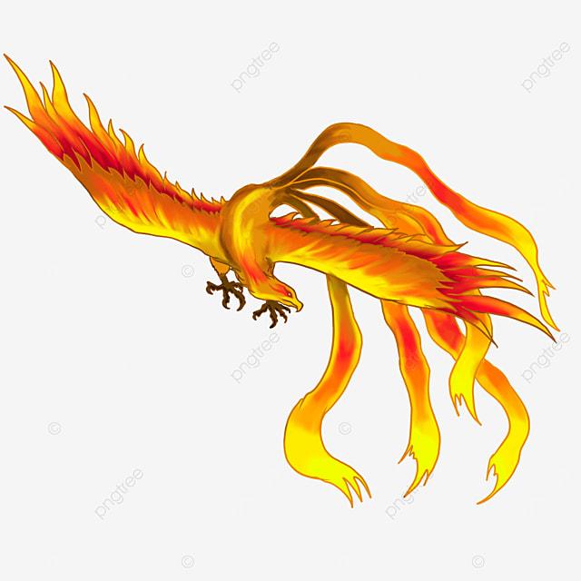 flying side head flame phoenix clipart