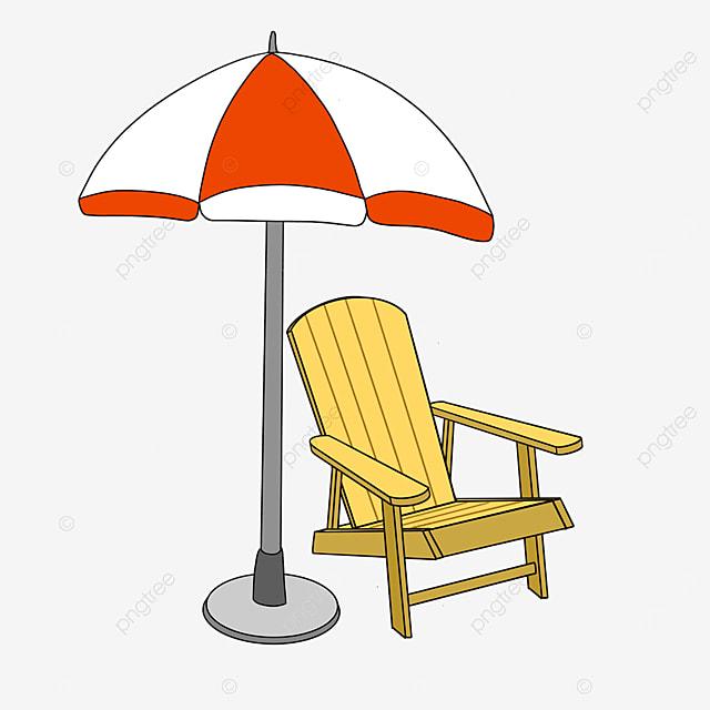 folding beach chair by the sea clip art