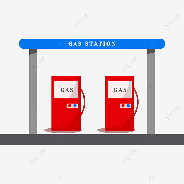 gas station clipart flat style