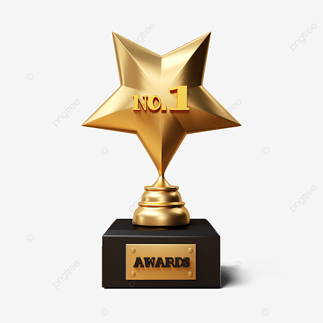 gold three dimensional five pointed star trophy