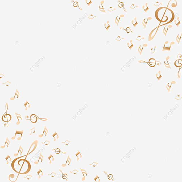 golden creative gradient music note border