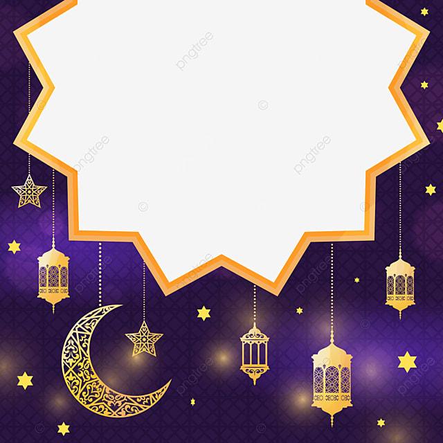 golden lights moon stars night eid mubarak exquisite border