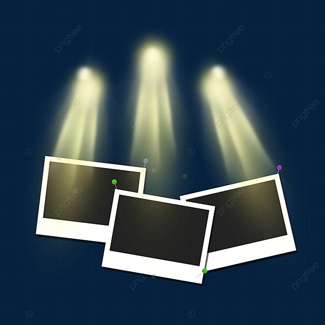 golden texture stage light photo frame