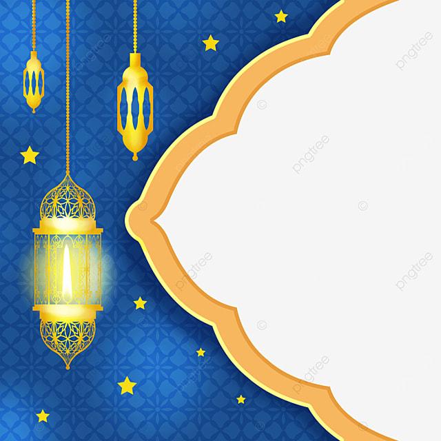 golden traditional retro lantern pendant eid mubarak exquisite border