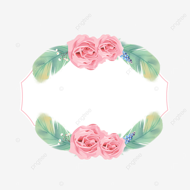 green color feather rose border