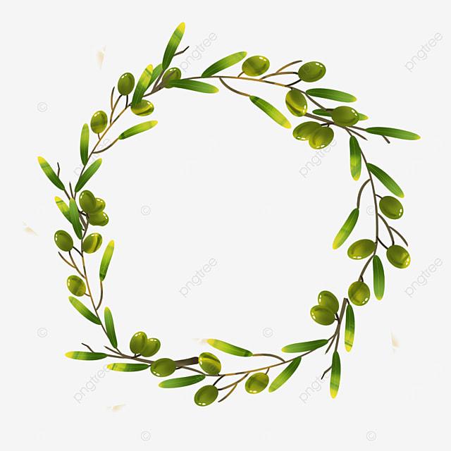 green olive branch creative border