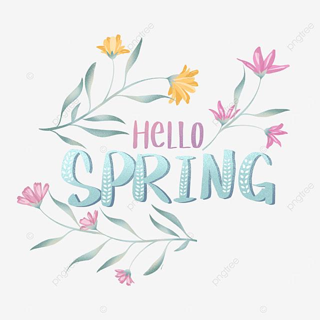 green spring hello floral text