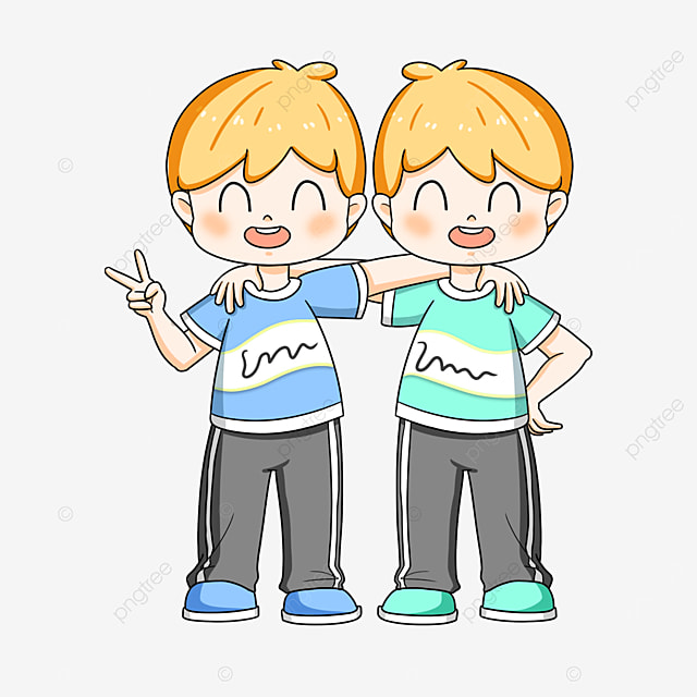 happy twins clipart