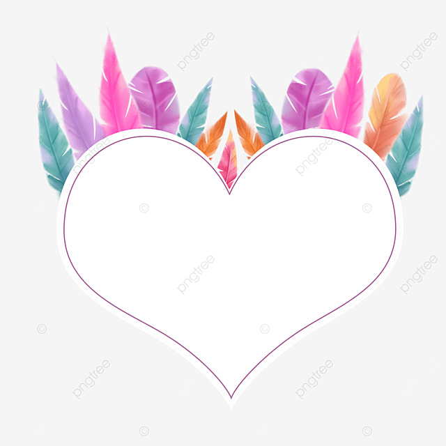 heart shaped colorful feather material border