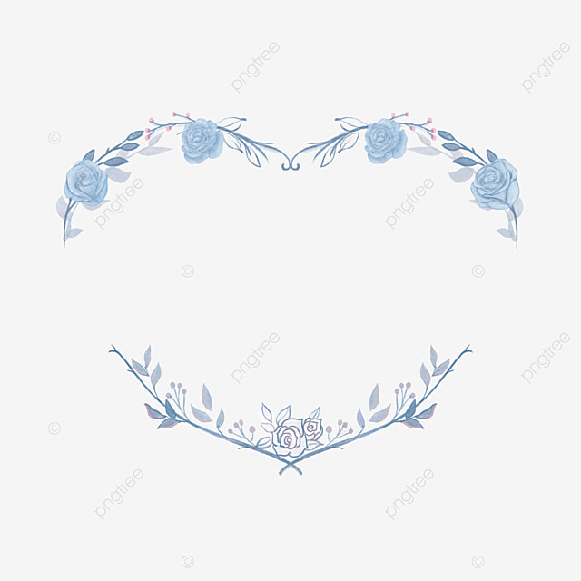 heart shaped wedding blue rose border