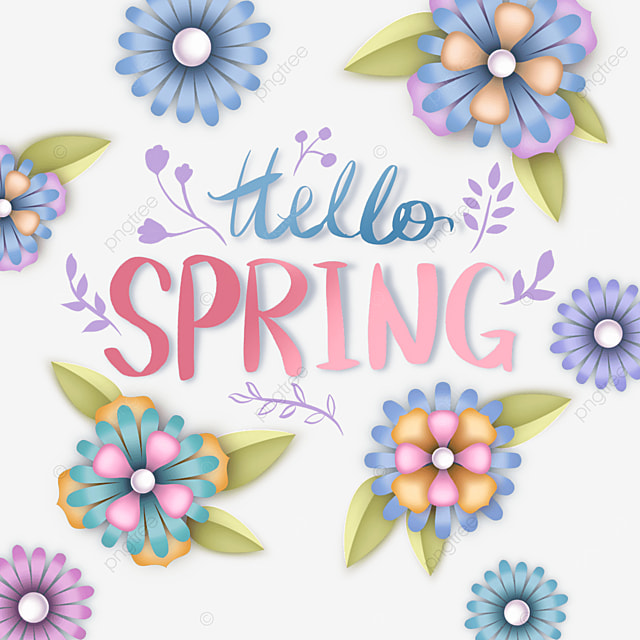 hello spring blue floral text