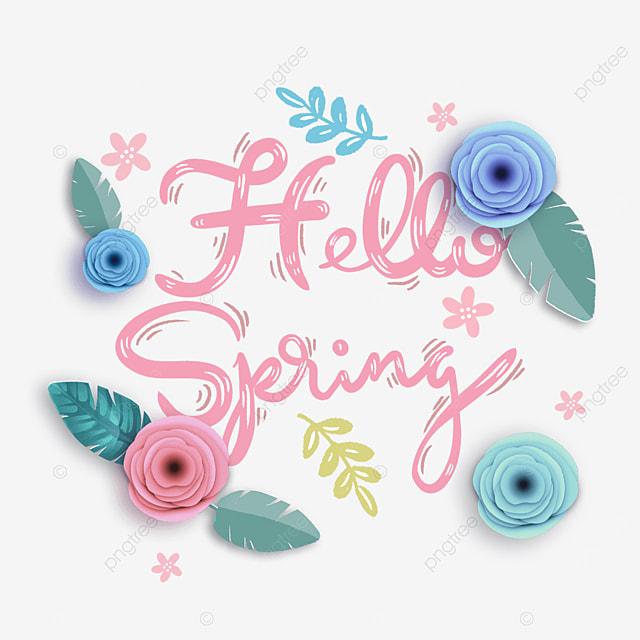 hello spring blue leaf floral text