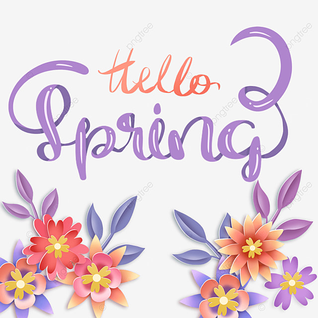 hello spring colorful floral purple text