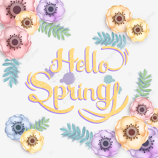 hello spring colorful floral text