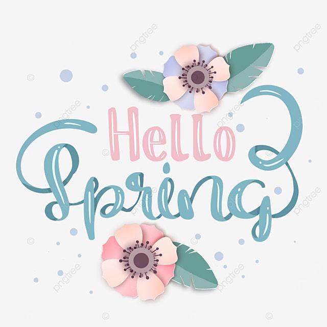 hello spring decorative floral text