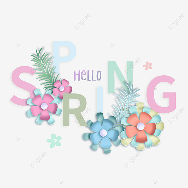 hello spring floral colorful creative text