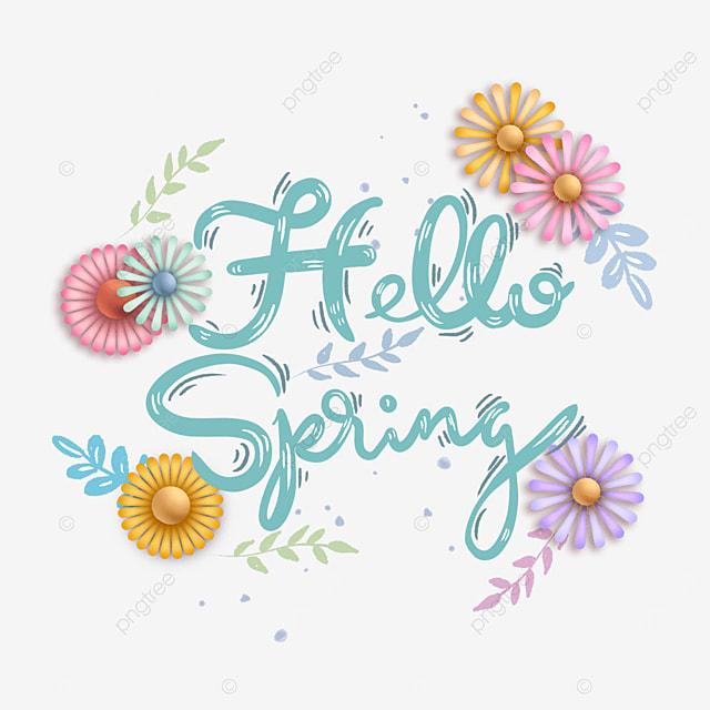 hello spring floral creative green text