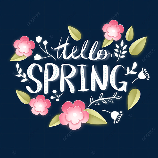 hello spring floral leaf text