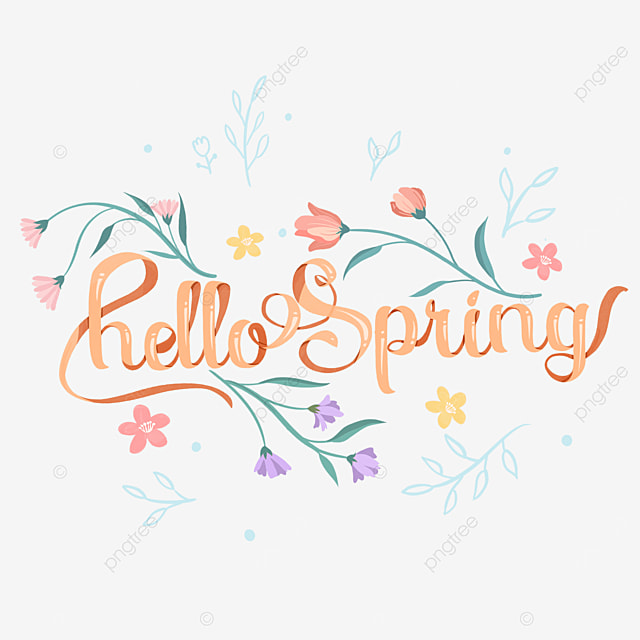 hello spring floral orange text