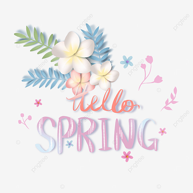hello spring floral pink text