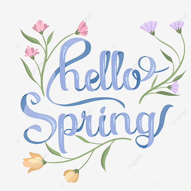 hello spring floral purple text