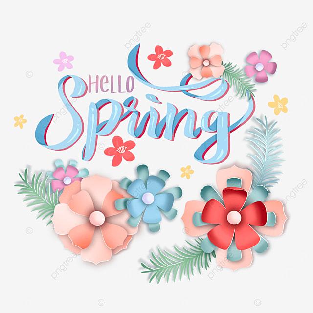 hello spring floral text