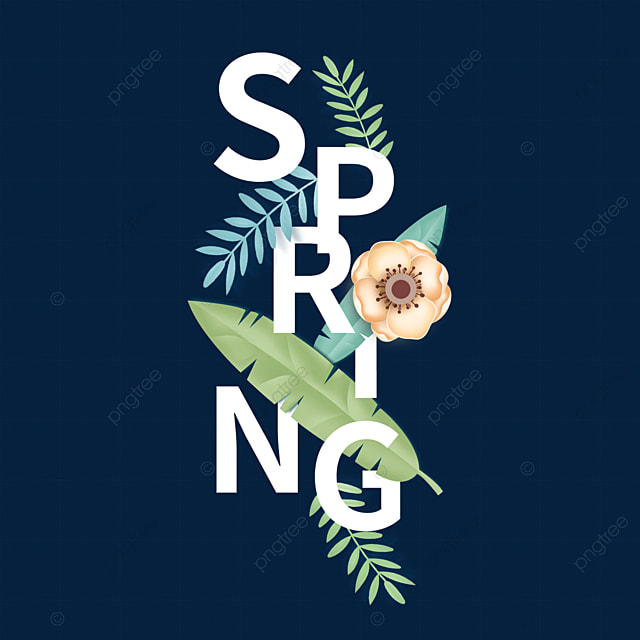 hello spring floral white text