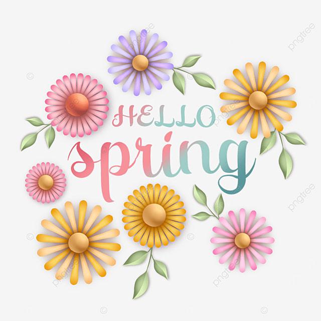 hello spring flower text art word